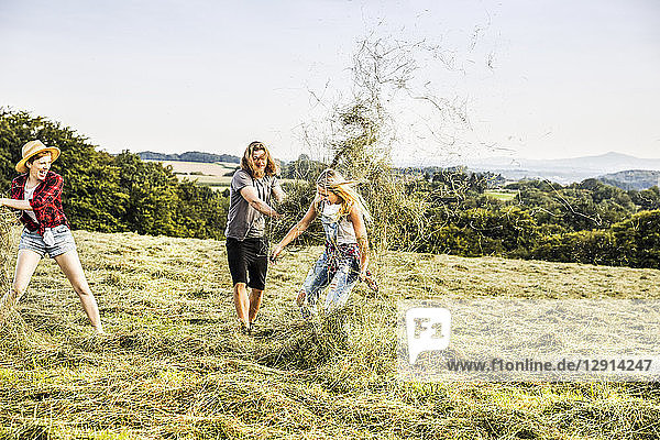 Carefree friends playing with hay in a field