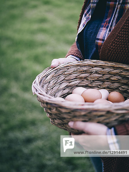 Woman's hands holding basket of fresh brown eggs
