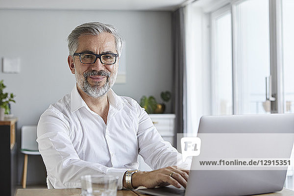 Portrait of smiling mature man using laptop at home