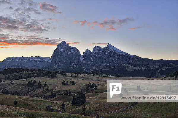 Italy  South Tyrol  Seiser Alm  Langkofel and Plattkofel at sunrise