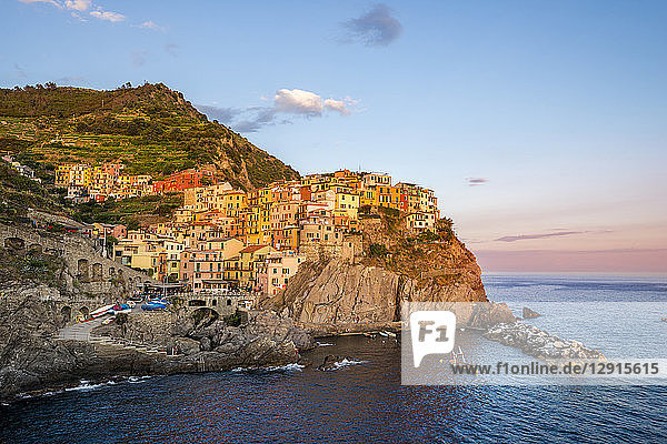 Italy,  Liguria,  Cinque Terre,  Manarola in the evening