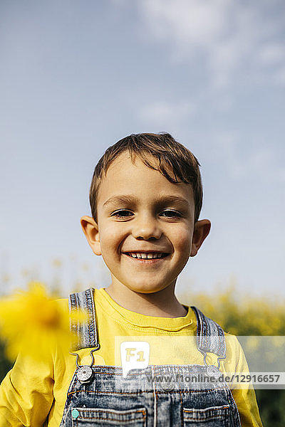 Portrait of happy little boy with picked yellow flower in nature