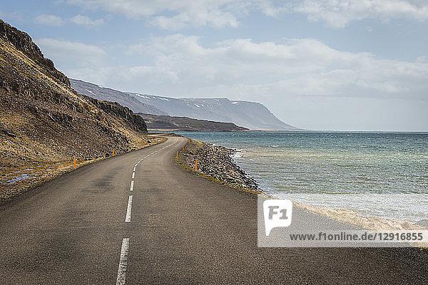 Iceland  Vestfiroir  empty road