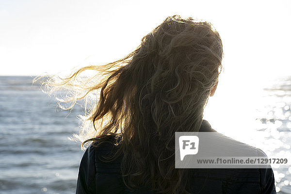Blond woman looking at the sea  rear view