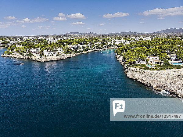Spain  Balearic Islands  Mallorca  Coast of Cala d'or and bay Cala Ferrera  holiday homes and villas