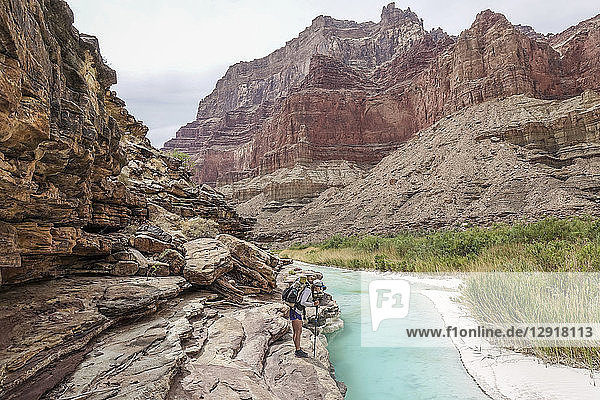 Landscape with young woman standing on rock formation and contemplating turquoise water of Little Colorado River near its confluence with Colorado deep down in Grand Canyon  Grand Canyon  Arizona  USA