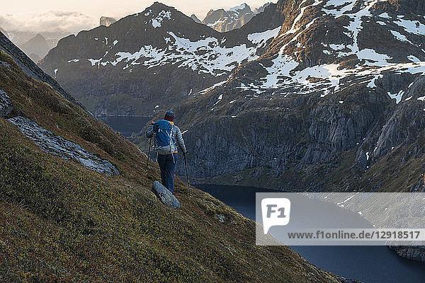 Rear view of female hiker descending steep mountain slope from Stovla mountain peak  Moskenesoya  Lofoten Islands  Norway