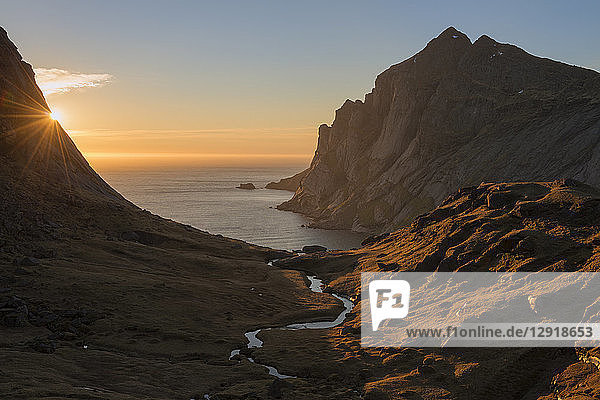 Beautiful natural scenery with valley above Bunes beach at sunset  Moskenesoya  Lofoten Islands  Norway