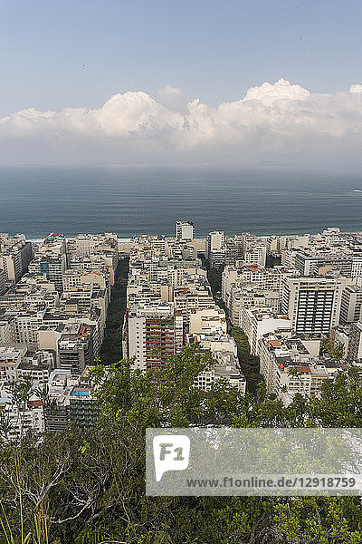 View of buildings in city and beach at Copacabana seen from Agulinha do Inhanga  Rio de Janeiro  Brazil