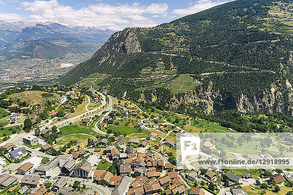 Aerial view of Swiss mountain village in Alps  Sion  Valais canton  Switzerland