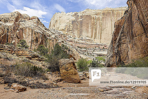 Majestic landscape of canyon with sandstone rock formations  GrandStaircase-EscalanteNational Monument  Utah  USA