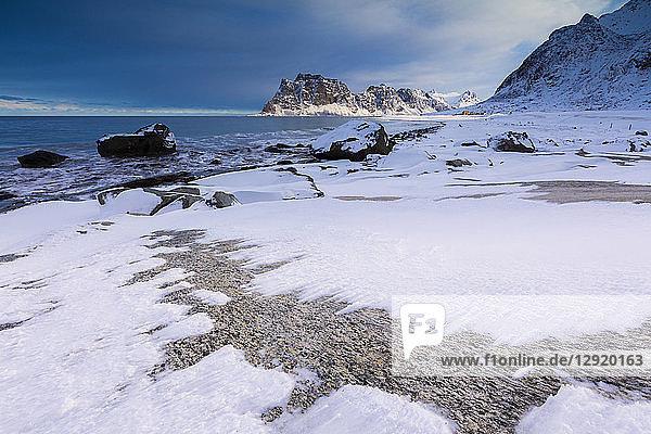Uttakleiv Beach covered with snow  Vestvagoy  Lofoten Islands  Nordland  Norway