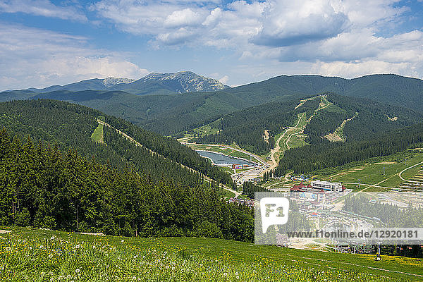 View over the Bukovel ski resort  Carpathian Mountains  Ukraine  Europe