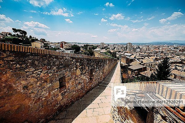 Venerable 9th century city walls with walkways  towers and scenic vantage points of Girona  Catalonia  Spain  Europe