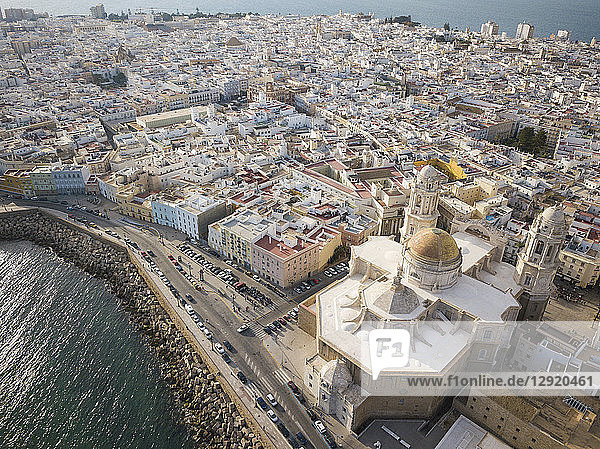 Aerial view of Cadiz Cathedral  by drone  Cadiz  Andalucia  Spain  Europe