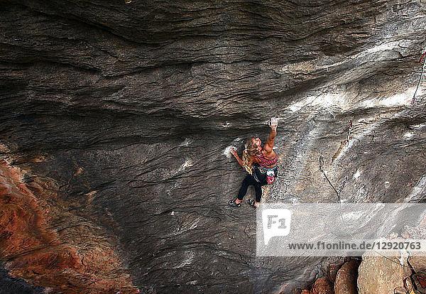 Rock climber in action  Serra do Cipo  Minas Gerais  Brazil  South America