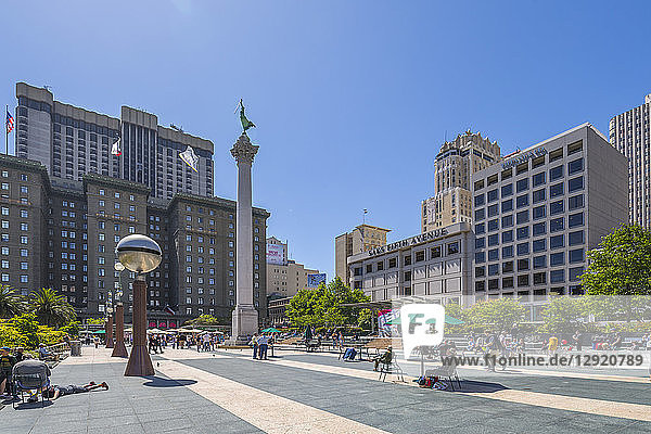 View of buildings and visitors in Union Square  San Francisco  California  United States of America  North America