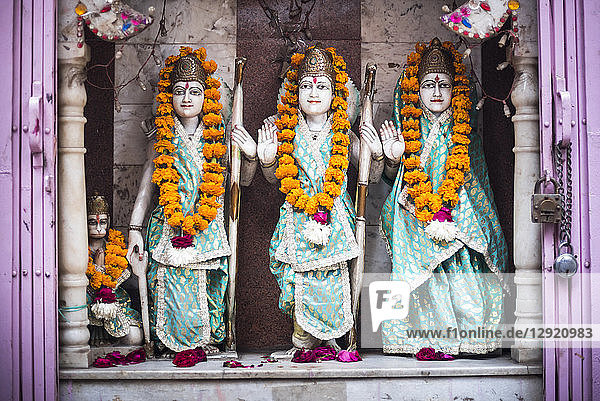 Hindu statues at a temple in Lucknow  Uttar Pradesh  India  Asia
