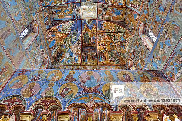 Frescoes  Resurrection of Christ Gate Church  Kremlin  Rostov Veliky  Golden Ring  Yarsolavl Oblast  Russia