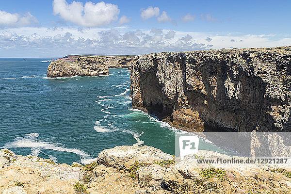 Rocky coastline at Cape Saint-Vincent  Sagres  Algarve  Portugal  Europe