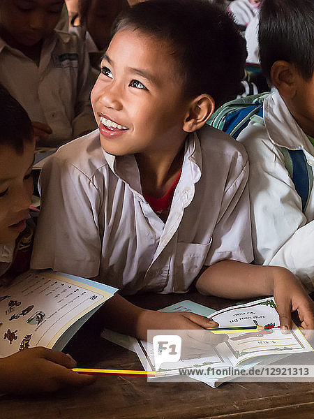 Young boy in school classroom  Houy Mieng  Laos  Indochina  Southeast Asia  Asia