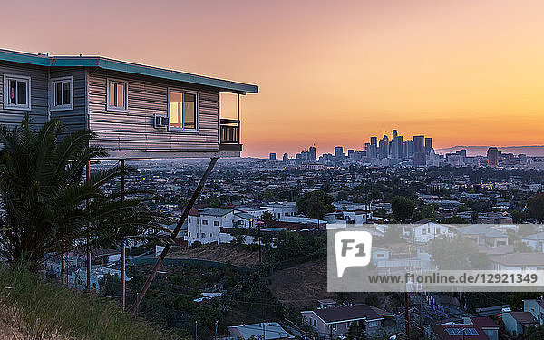 View of Downtown skyline at golden hour  Los Angeles  California  United States of America  North America