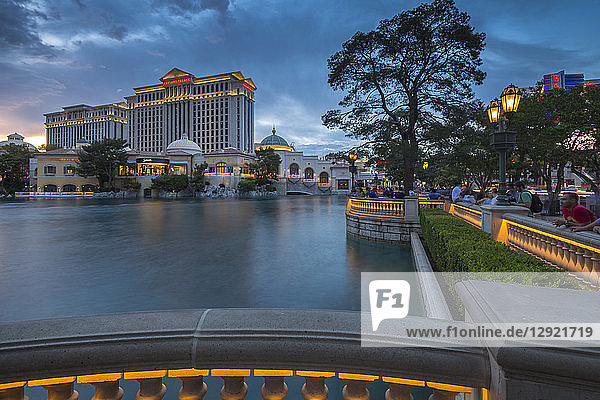 View of Caesars Palace at dusk  The Strip  Las Vegas Boulevard  Las Vegas  Nevada  United States of America  North America