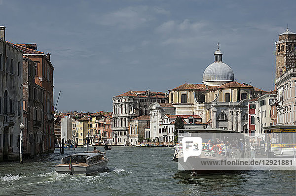 Water bus and taxi  Grand Canal at Marcuola  Venice  UNESCO World Heritage Site  Veneto  Italy