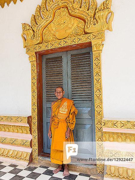 Head Buddhist monk of village temple  near Siem Reap  Cambodia  Indochina  Southeast Asia  Asia