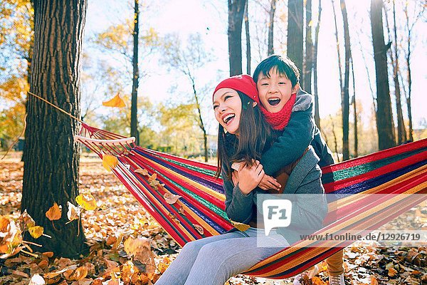 Mother and son outdoor outing