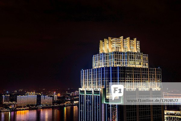 Wuhan city  hubei province construction at night