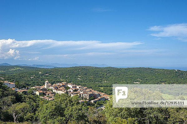 Landscape with the village of Ramatuelle and the massif Esterel in background  Var  Provence-Alpes-Cote d`Azur  France  Europe.