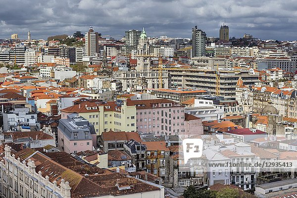 Cityscape from from Clerigos tower  Porto  Portugal.