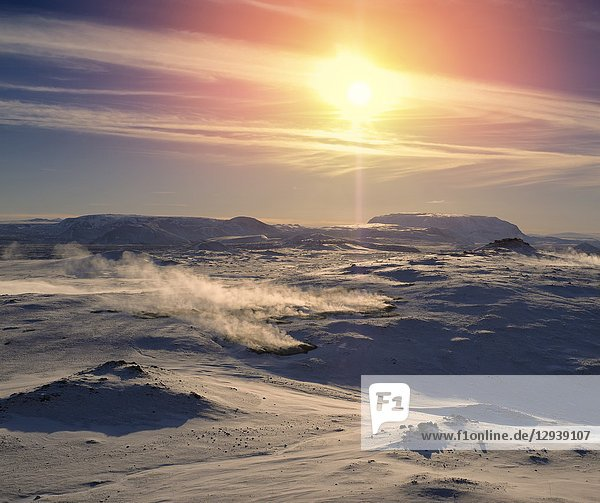 Winter  Lake Myvatn  Iceland.