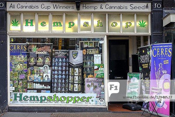 Netherlands  Amsterdam.Hempshop- exterior of a cannabis store.
