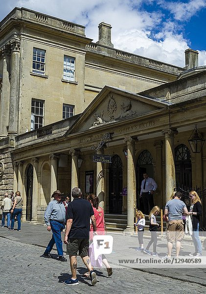 Exterior of the Pump Room restaurant on Stall Street  fine dining venue located above the Roman Baths  Bath  Somerset  England  UK.