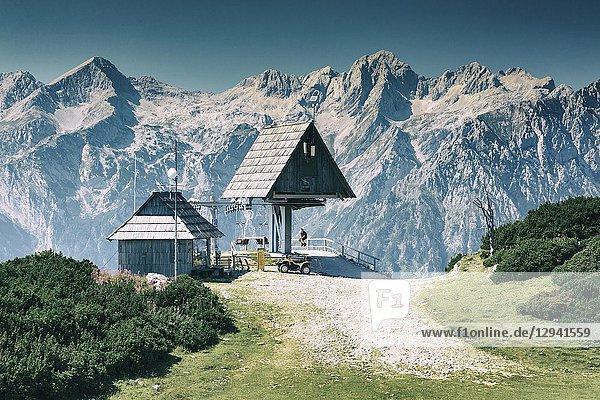 Mountains landscape in summer. Velika Planina sky area. Upper Carniola region. Slovenia  Europe.