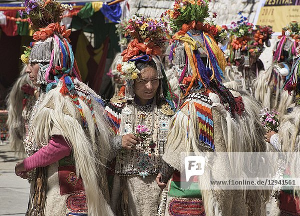 Aryan (Brogpa) women in traditional costume  Biama village  Ladakh  India.