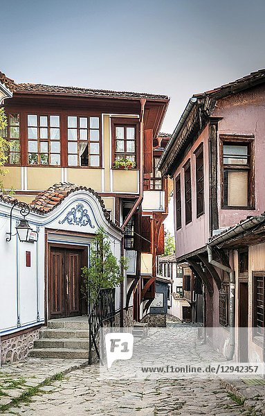 Traditional houses and cobbled street in old town of plovdiv bulgaria.