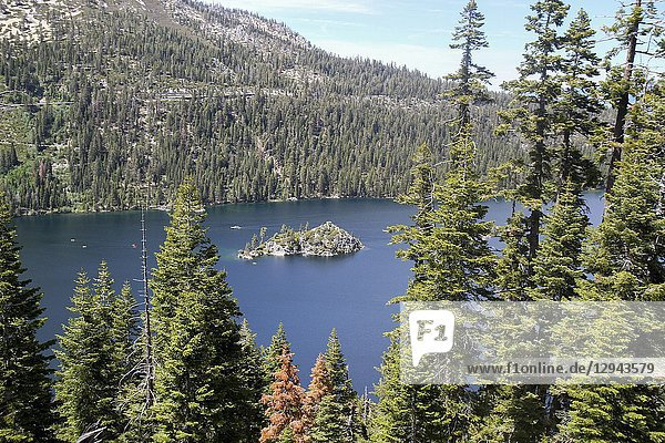 View towards Fannette Island from Inspiration Point  Emerald Bay  Lake Tahoe  California  United States.