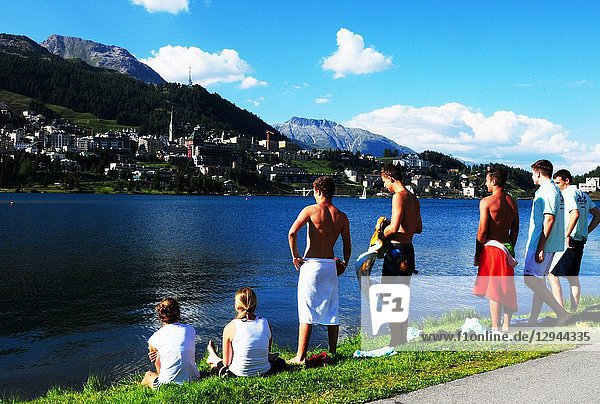 Swiss alps: A cold bath in Lake St. Moritz in the Upper Engadin.