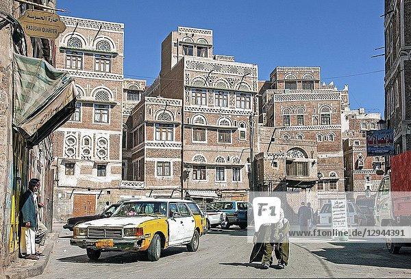 Street scene in downtown sanaa city old town in yemen.