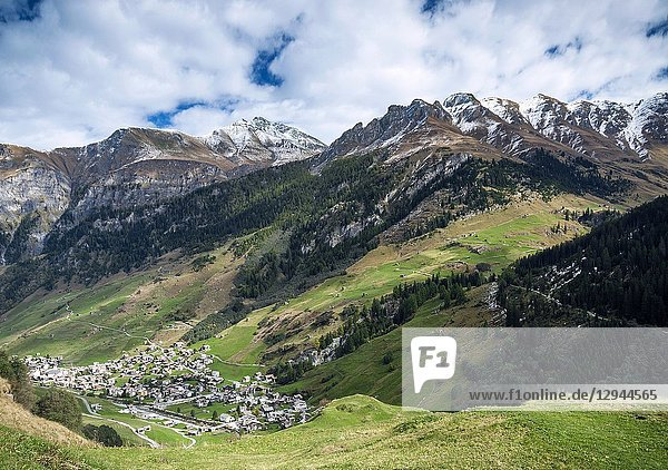 Vals village alpine valley landscape and homes in central alps switzerland.