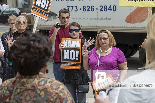 Detroit  Michigan USA - 27 September 2018 - While Dr. Christine Blasey Ford was testifying before a U. S. Senate committee about being sexual assaulted by Supreme Court nominee Brett Kavanaugh  women gathered on a downtown street  raising their hands to say they believe her. It was part of a National Solidarity Speakout in support of Dr. Ford.