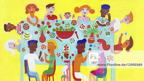 Familie und Freunde beim Feiern und gemeinsamen Essen