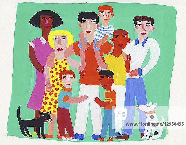 Porträt einer Gruppe von Familie und Freunden
