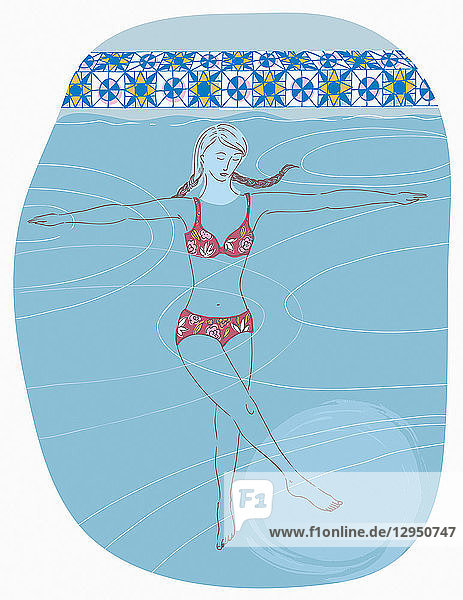 Frau macht Aqua-Pilates im Schwimmbad