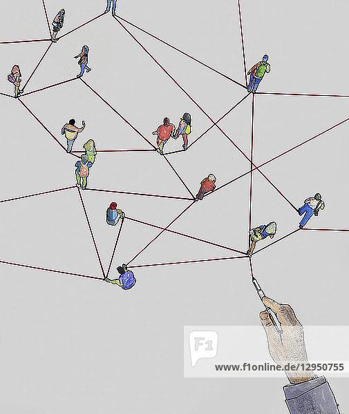 Hand zeichnet Linien die Menschen verbinden