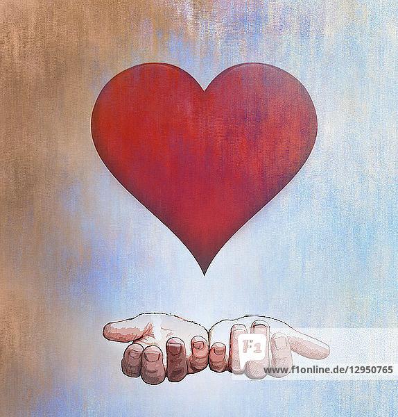 Hohle Hände unter Herzform