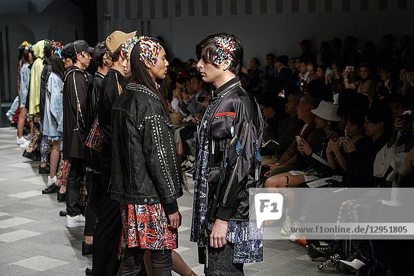 October 17  2018  Tokyo  Japan - Models wearing fashion brand ACUOD by CHANU walk down the catwalk during the Amazon Fashion Week TOKYO 2019 S/S collection at Omotesando Hills in Tokyo. The Amazon Fashion Week TOKYO 2019 Spring / Summer collection runs from October 15 to 21.